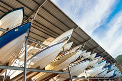 Power boats sheltered parking facility marina in Trinidad Stock Photos