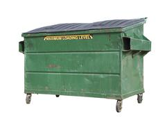Green Trash or Recycle Dumpster On White with Clipping Path - stock photo