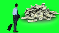 Businessman looking at money pile Stock Footage
