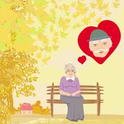 The old lady thinks about the man she loves Stock Illustration