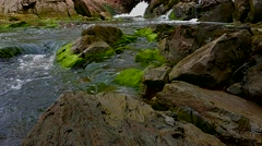 Stream of water flowing over and through rocks Stock Footage