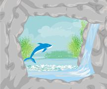 Tropical island paradise with leaping dolphin Stock Illustration