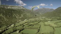 Aerial view of paragliders flying. Spain Stock Footage