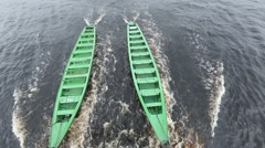 Stock Video Footage of Canoes towed by Clipper on Rio Negro Amazon River