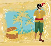 abstract grunge illustration with pirate and chest full of gold - stock illustration