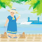 Elegant senior woman on vacation in the tropics Piirros