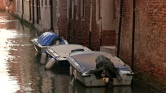 Empty canal boats in water Stock Footage