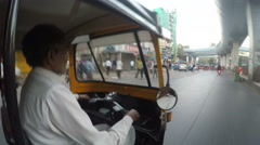 Side view of driver during backseat ride in rickshaw. Stock Footage