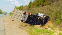 Truck crash roll over - stock photo