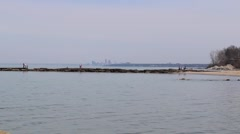 Lake Erie with Cleveland in the distance Stock Footage