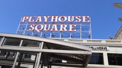 Playhouse Square sign - stock footage