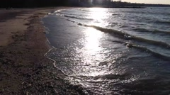 Waves rolling in at sunset (5 of 5) - stock footage