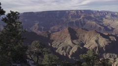 Slow Motion Pan over Grand Canyon to Ruins Stock Footage