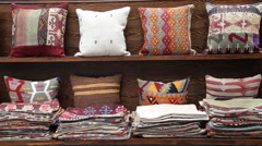 Colorful Turkish design cushions at Grand Bazaar in Istanbul Stock Footage
