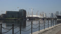 London docklands, Millennium Dome and Emirates Cable car, England Stock Footage