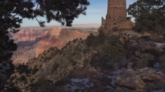 Slow Motion Zoom In on El Tovar Tower at Grand Canyon Stock Footage