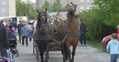 Celebration of European Victory`s Day in Poland: Horses Pulling the Dray Stock Footage