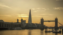 Day to night time-lapse of the Shard and Tower Bridge Stock Footage
