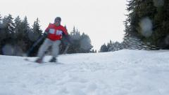 Two Men Skiing Together Sport and Recreation Concept Stock Footage