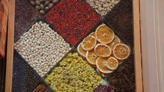 Image of market offering a selection of dried fruits Stock Footage