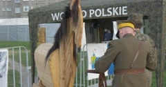 European Victory`s Day,8 of May:Artificial Wooden Horse at the Tent and Soldiers Stock Footage