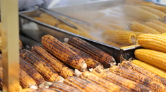 Grilled corn cob on the market in Turkey - stock footage