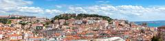 Panoramic view of Lisbon from Sao Pedro de Alcantara viewpoint - Miradouro in Stock Photos