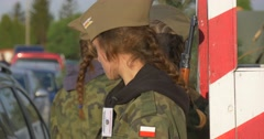 Female Military at The Improvised Checkpoint European Victory`s Day, 8 of May Stock Footage