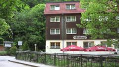 4k Big forest hotel in Ilsenburg at mountain range Harz Stock Footage