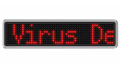 "4K - Led dot display with ""Warning virus detected"" text message Stock Footage"