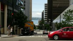 Seattle Downtown Intersection Stock Footage