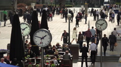 Business people, Canary Wharf, London financial district, England - stock footage