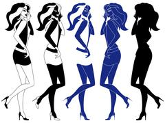 Girls with luxurious hair Stock Illustration