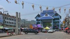 Mae Sai Thailand, Border to Myanmar Stock Footage