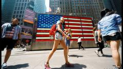 Stock Video Footage of People at Times Square American Flag Time Lapse 4K