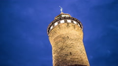 Kaiserburg castle tower by night timelapse Stock Footage