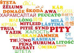 Pity multilanguage wordcloud background concept Stock Illustration