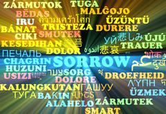 Sorrow multilanguage wordcloud background concept glowing - stock illustration