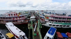 Time lapse at wharf  in Manaus ,amazon, Rio Negro  river Stock Footage