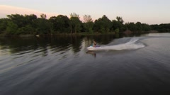 High speed jet ski on a glassy lake Stock Footage