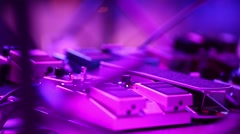Guitar pedals on stage during performance Stock Footage