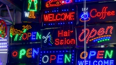 Market stalls in Mae Sai, Thailand Stock Footage