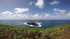 Little island near the Kilauea lighthouse, Kauai, Hawaii - stock footage