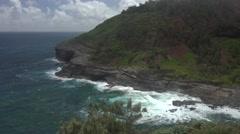 Kilauea ocean shore on the island of Kauai, Hawaii, near lighthouse - stock footage