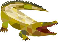 Alligator Crocodile Gaping Mouth Low Polygon Stock Illustration