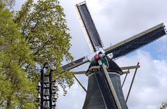 Old windmill in Keukenhof, Lisse Stock Photos