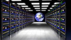 Data Center, Animation of rack servers in a data center with globe Stock Footage