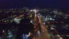 Aerial night Hallandale Beach Boulevard 2 - stock footage