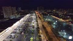 Aerial night Hallandale Beach Boulevard 3 - stock footage