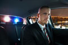 Portrait Of A Young Man Chased And Pulled Over By Police - stock photo